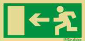 SIN23002 - Pictogramme de Sécurité Photo-luminescent 'Sortie de Secours' 200 x 100 mm SINALUX Fire Exit Photoluminescent Safety Sign 23002
