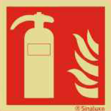 SIN24601 - Pictogramme de Sécurité Photo-luminescent 'Extincteur' 150 x 150 mm SINALUX Extinguisher Photoluminescent Safety Sign 24601