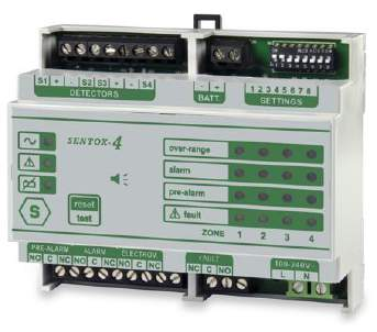 SENTOX 4+ - Centrale Détection Gaz 4 Zones Montage sur rail DIN - 4 Zones Gas Control Panel for DIN-rail mounting