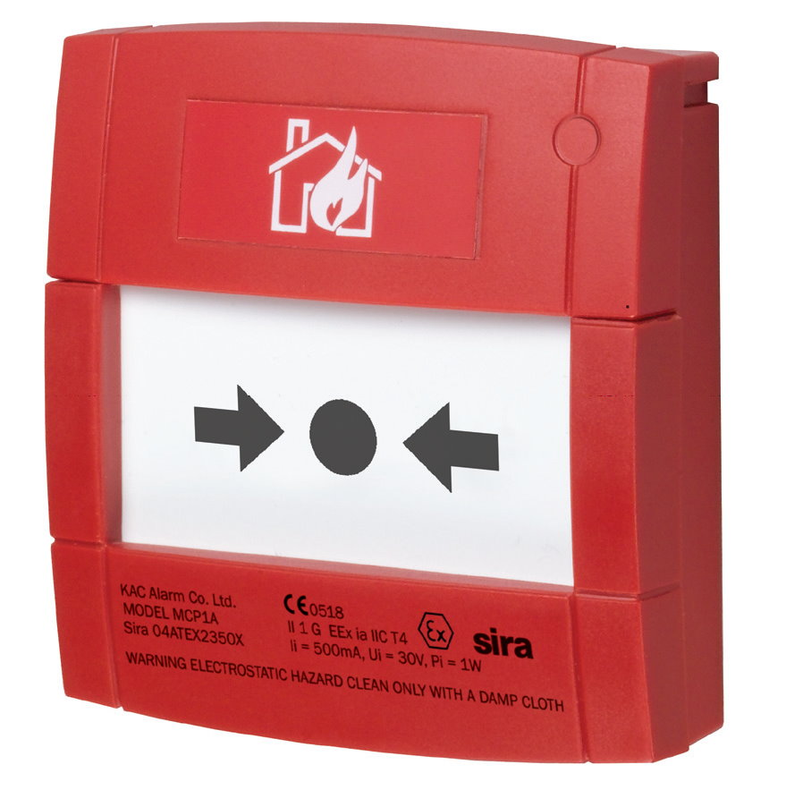 Bouton Poussoir Incendie intérieur Rouge Intrinsèque avec élément Flexible et Résistance 470R MCP1A-R470FF-01IS Morley-IAS IS MCP with Flexible element 470R MCP1AR470FF01IS